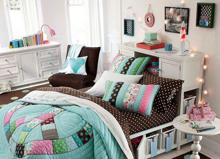bedroom-furniture-amusing-cute-white-wall-paint-teenage-girl-bedroom-ideas-with-charming-white-wood-bed-frame-on-combined-under-storage-bed-and-comfortable-brown-white-polkat-dot-bed-also-gorgeous-wh