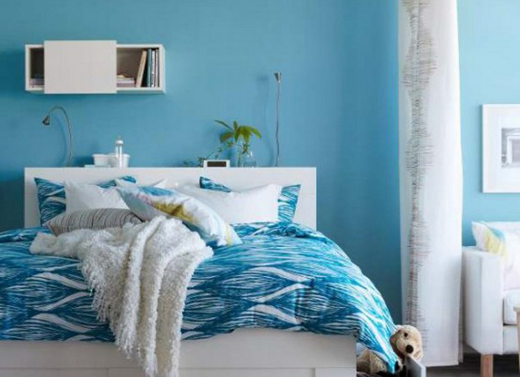 sharp-ikea-bedroom-in-blue-decor-also-blue-color-paint-for-small-bedroom